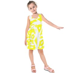 yellow sunny design Kids  Sleeveless Dress