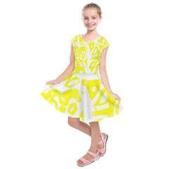 yellow sunny design Kids  Short Sleeve Dress