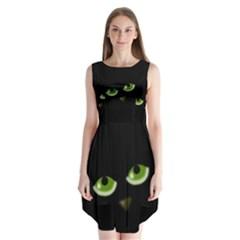 Halloween   Back Cat Sleeveless Chiffon Dress