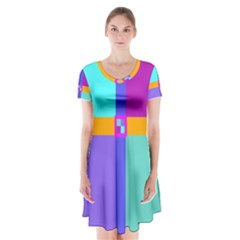 Right Angle Squares Stripes Cross Colored Short Sleeve V-neck Flare Dress
