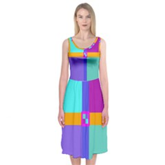 Right Angle Squares Stripes Cross Colored Midi Sleeveless Dress