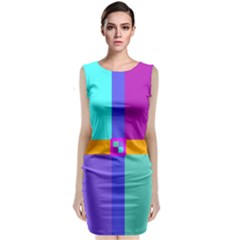 Right Angle Squares Stripes Cross Colored Classic Sleeveless Midi Dress