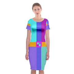 Right Angle Squares Stripes Cross Colored Classic Short Sleeve Midi Dress
