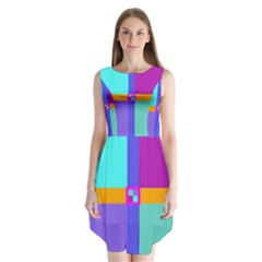 Right Angle Squares Stripes Cross Colored Sleeveless Chiffon Dress