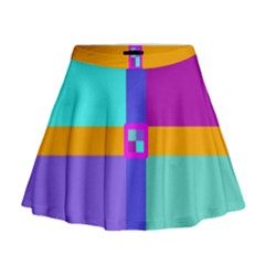 Right Angle Squares Stripes Cross Colored Mini Flare Skirt