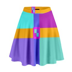 Right Angle Squares Stripes Cross Colored High Waist Skirt