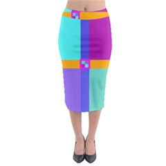 Right Angle Squares Stripes Cross Colored Midi Pencil Skirt