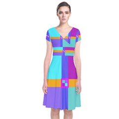 Right Angle Squares Stripes Cross Colored Short Sleeve Front Wrap Dress