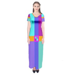 Right Angle Squares Stripes Cross Colored Short Sleeve Maxi Dress