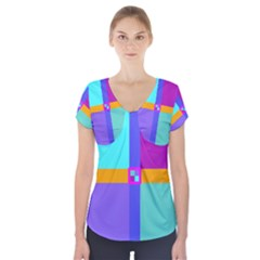 Right Angle Squares Stripes Cross Colored Short Sleeve Front Detail Top