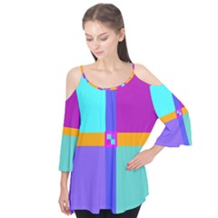 Right Angle Squares Stripes Cross Colored Flutter Tees