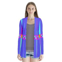 Right Angle Squares Stripes Cross Colored Drape Collar Cardigan