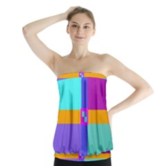 Right Angle Squares Stripes Cross Colored Strapless Top