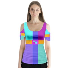 Right Angle Squares Stripes Cross Colored Butterfly Sleeve Cutout Tee