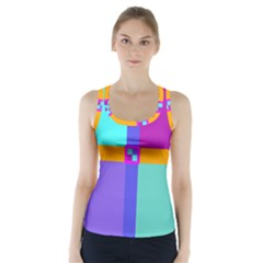 Right Angle Squares Stripes Cross Colored Racer Back Sports Top