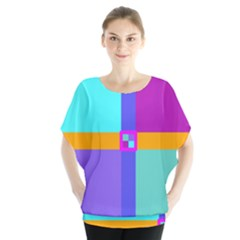 Right Angle Squares Stripes Cross Colored Blouse