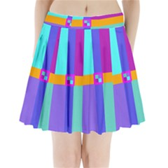 Right Angle Squares Stripes Cross Colored Pleated Mini Skirt