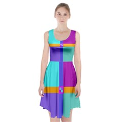 Right Angle Squares Stripes Cross Colored Racerback Midi Dress