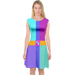 Right Angle Squares Stripes Cross Colored Capsleeve Midi Dress