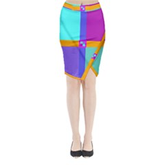 Right Angle Squares Stripes Cross Colored Midi Wrap Pencil Skirt
