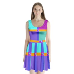 Right Angle Squares Stripes Cross Colored Split Back Mini Dress