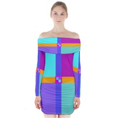 Right Angle Squares Stripes Cross Colored Long Sleeve Off Shoulder Dress