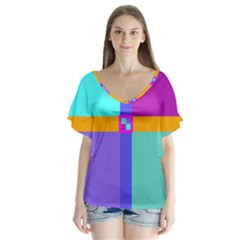 Right Angle Squares Stripes Cross Colored Flutter Sleeve Top