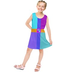 Right Angle Squares Stripes Cross Colored Kids  Tunic Dress