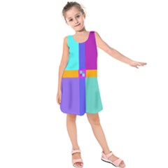 Right Angle Squares Stripes Cross Colored Kids  Sleeveless Dress