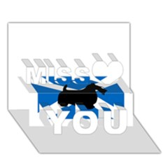 Scottish Terrier Silhouette Scotland Flag Miss You 3D Greeting Card (7x5)