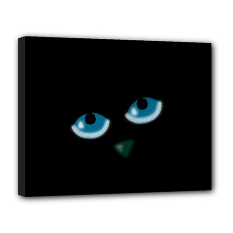 Halloween - black cat - blue eyes Canvas 14  x 11