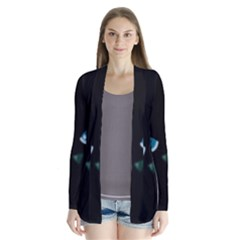 Halloween - black cat - blue eyes Drape Collar Cardigan