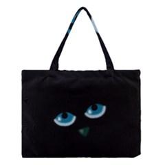 Halloween - black cat - blue eyes Medium Tote Bag