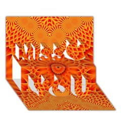 Lotus Fractal Flower Orange Yellow Miss You 3d Greeting Card (7x5)