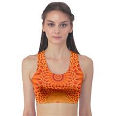 Lotus Fractal Flower Orange Yellow Sports Bra