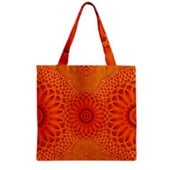Lotus Fractal Flower Orange Yellow Grocery Tote Bag