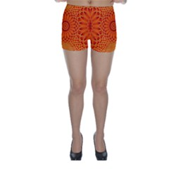 Lotus Fractal Flower Orange Yellow Skinny Shorts