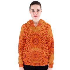 Lotus Fractal Flower Orange Yellow Women s Zipper Hoodie