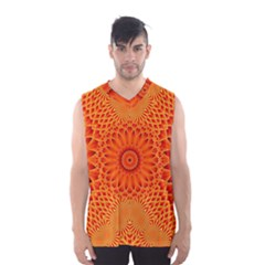 Lotus Fractal Flower Orange Yellow Men s Basketball Tank Top