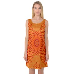 Lotus Fractal Flower Orange Yellow Sleeveless Satin Nightdress