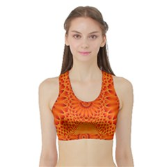 Lotus Fractal Flower Orange Yellow Sports Bra With Border