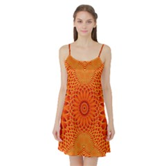 Lotus Fractal Flower Orange Yellow Satin Night Slip