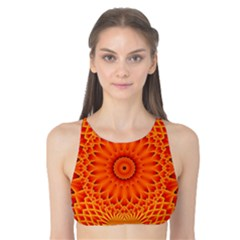 Lotus Fractal Flower Orange Yellow Tank Bikini Top