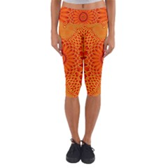Lotus Fractal Flower Orange Yellow Capri Yoga Leggings