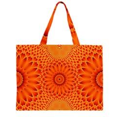 Lotus Fractal Flower Orange Yellow Zipper Large Tote Bag