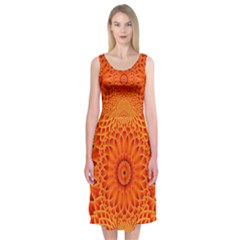 Lotus Fractal Flower Orange Yellow Midi Sleeveless Dress