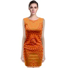 Lotus Fractal Flower Orange Yellow Classic Sleeveless Midi Dress