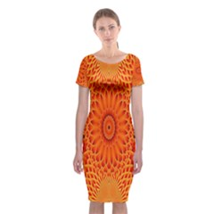 Lotus Fractal Flower Orange Yellow Classic Short Sleeve Midi Dress