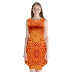 Lotus Fractal Flower Orange Yellow Sleeveless Chiffon Dress