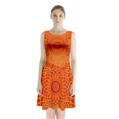Lotus Fractal Flower Orange Yellow Sleeveless Chiffon Waist Tie Dress